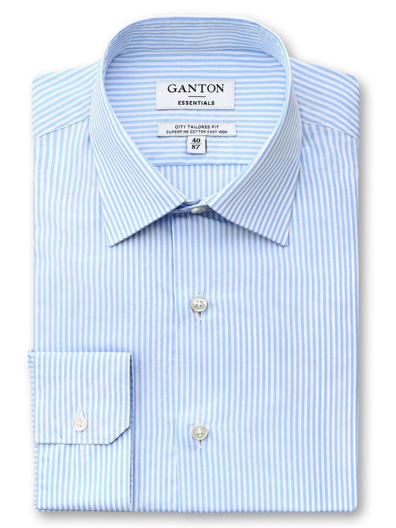 Blue White Stripe Tailored Fit Edison Easy Iron Superfine Cotton Essentials Shirt