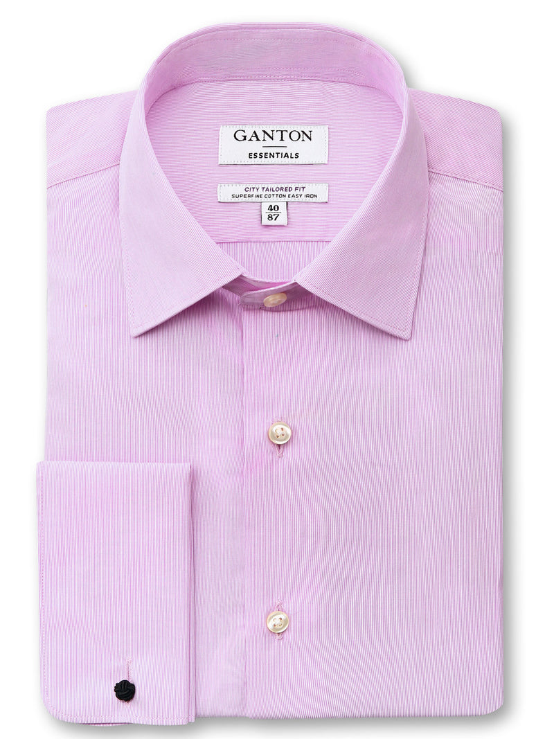 Pink Tailored Fit Elton Easy Iron Superfine Cotton Essentials Shirt
