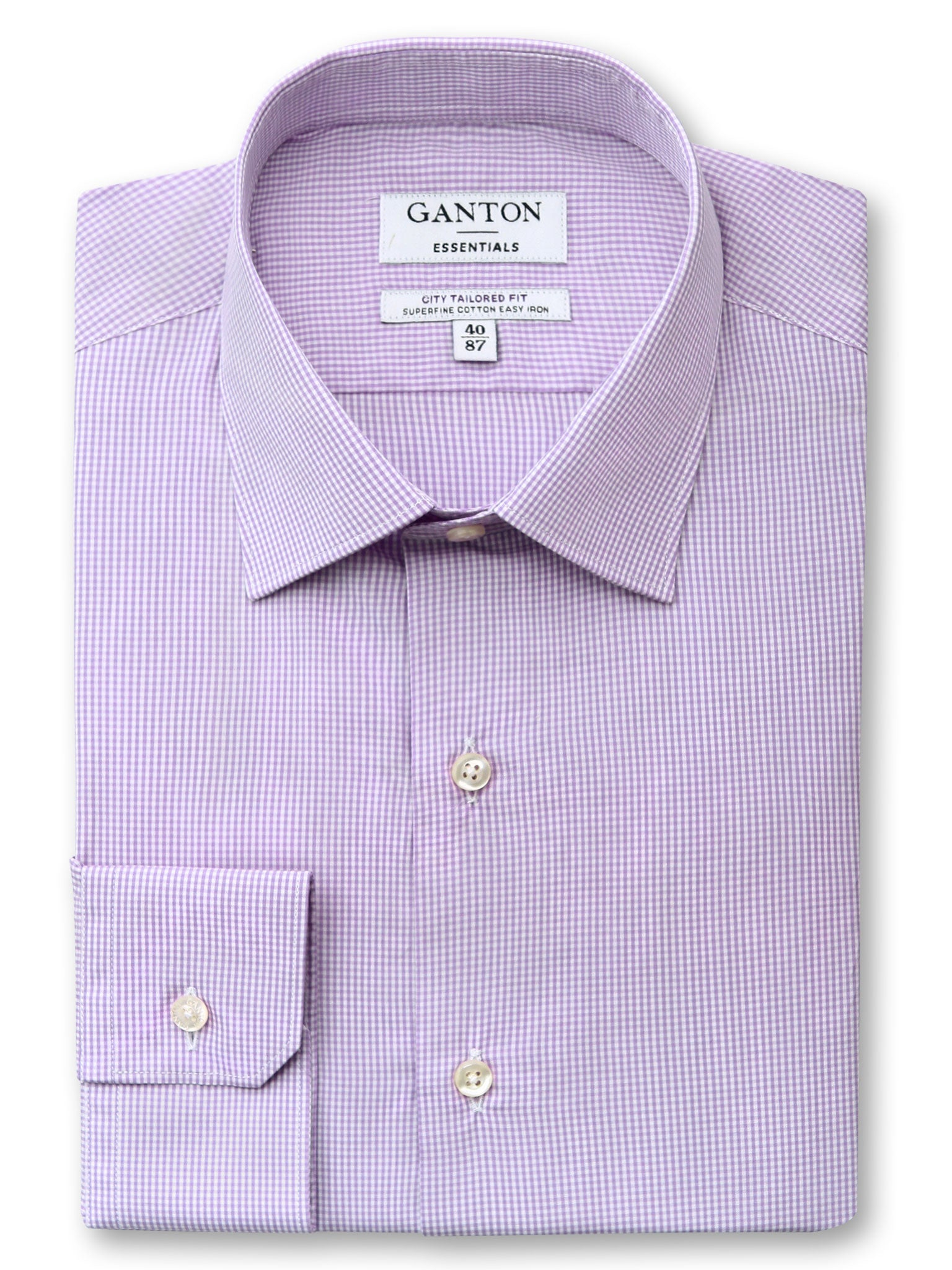 Purple Check Tailored Fit Earl Easy Iron Superfine Cotton Essentials Shirt