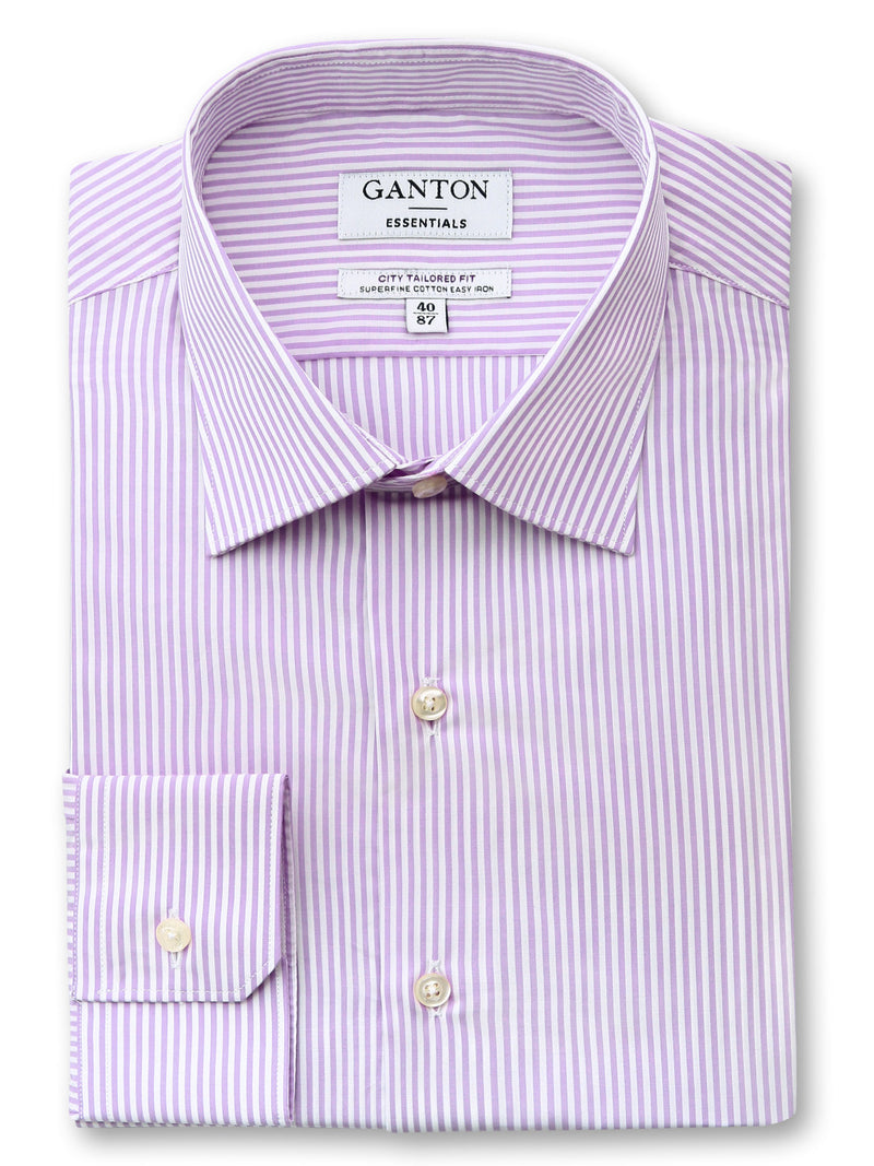 Pink White Stripe Tailored Fit Emanuel Easy Iron Superfine Cotton Essentials Shirt