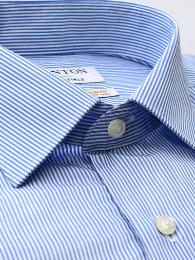 Blue White Stripe Tailored Fit Elliott Easy Iron Superfine Cotton Essentials Shirt