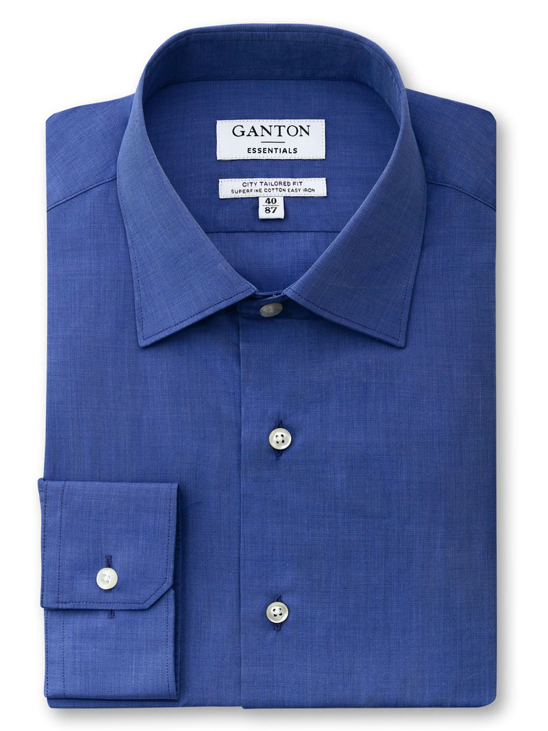 Royal Blue Plain Tailored Fit Edgar Essentials Easy Iron Cotton Shirt