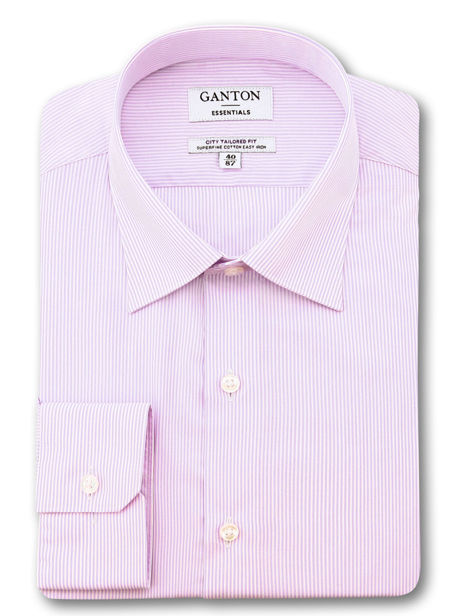 Pink White Stripe Tailored Fit Ecclestone Easy Iron Superfine Cotton Essential Shirt
