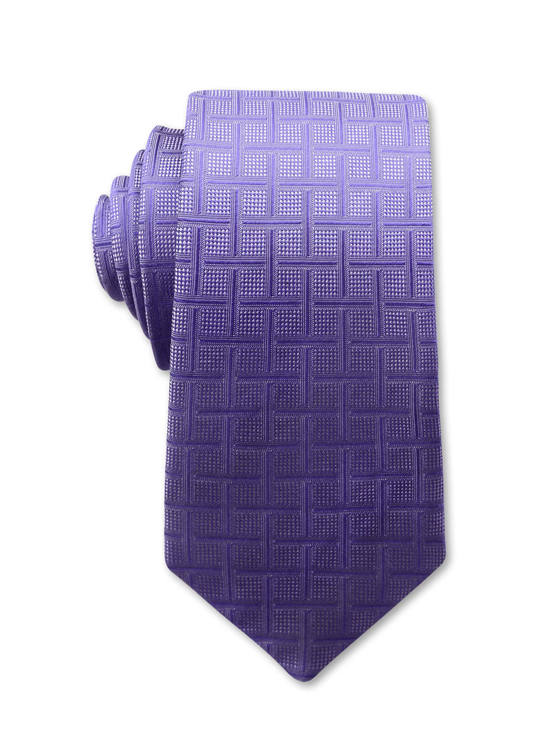 Purple Check 7cm Desmond Luxury Silk Tie Made in Australia