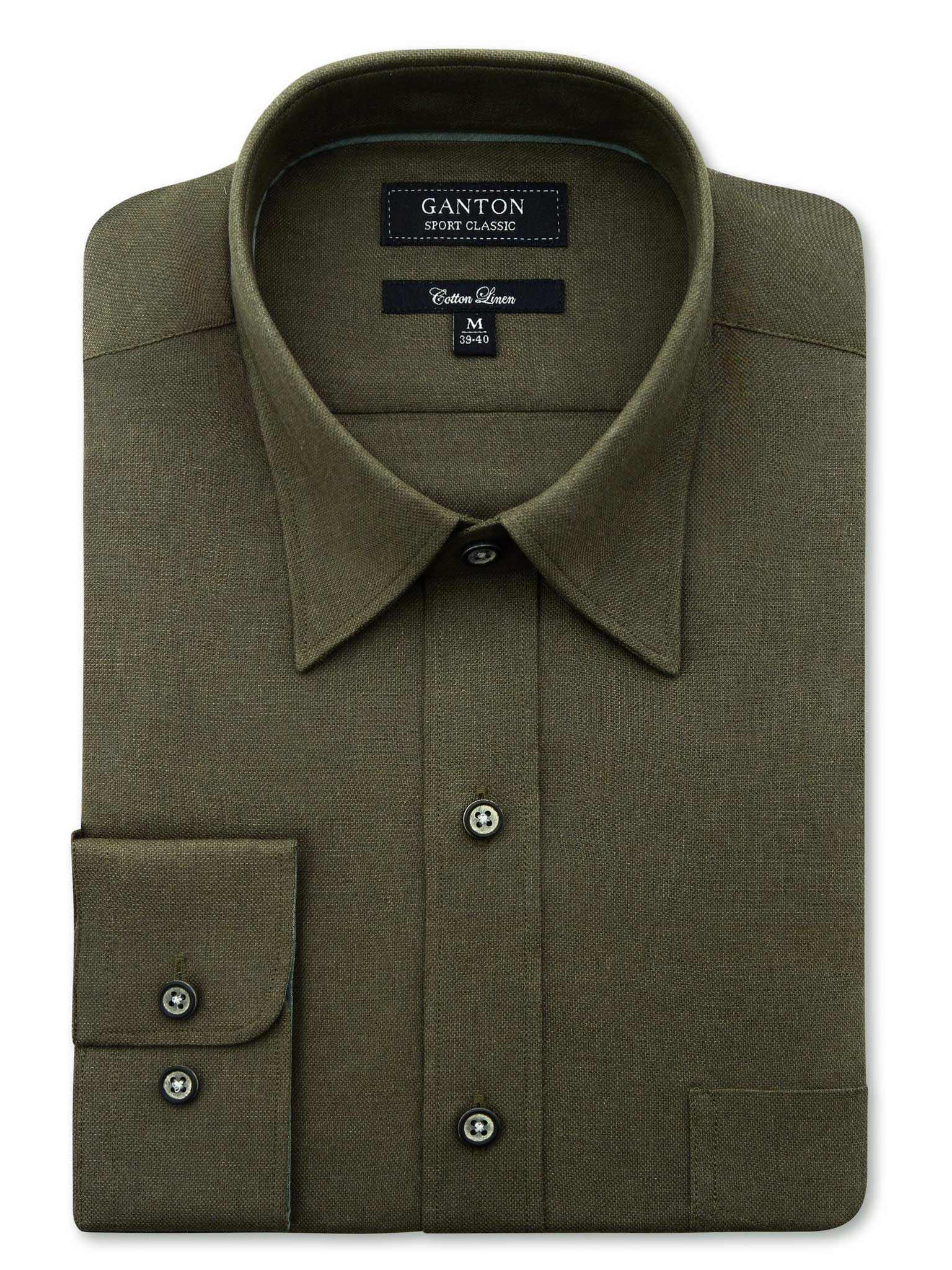 Flat Green Textured Classic Fit John Cotton Linen Shirt