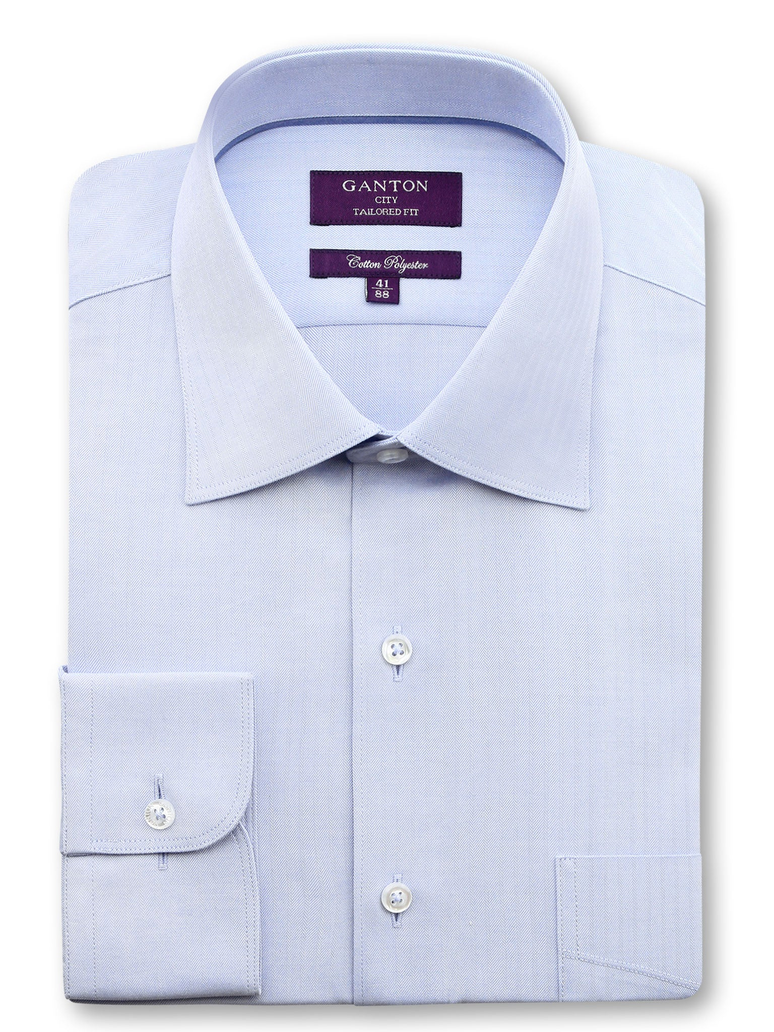 All Light Blue Textured Tailored Fit Wayne Cotton Polyester Shirt