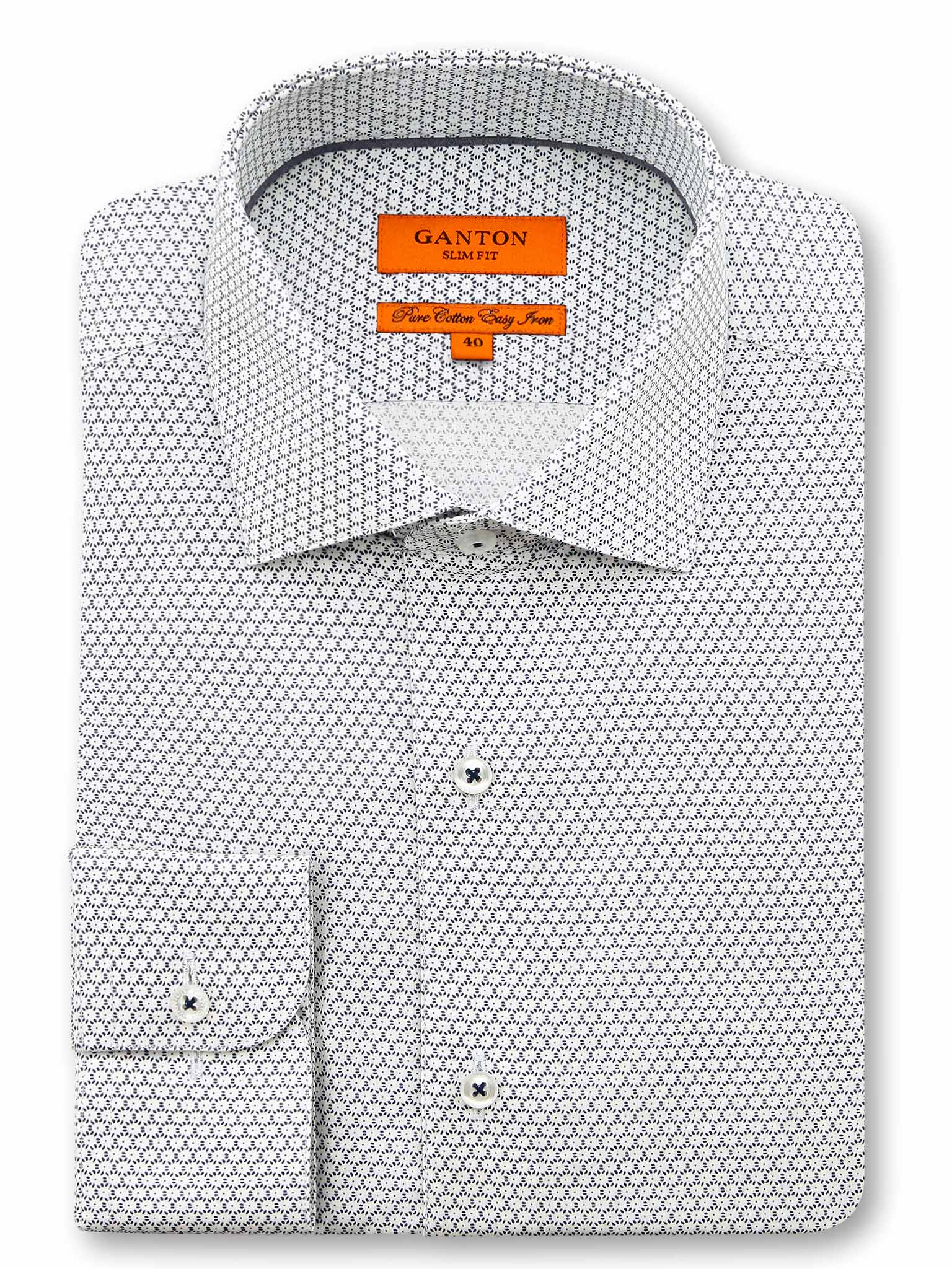 White Navy Print Slim Fit Stefan Easy Iron Pure Cotton Shirt