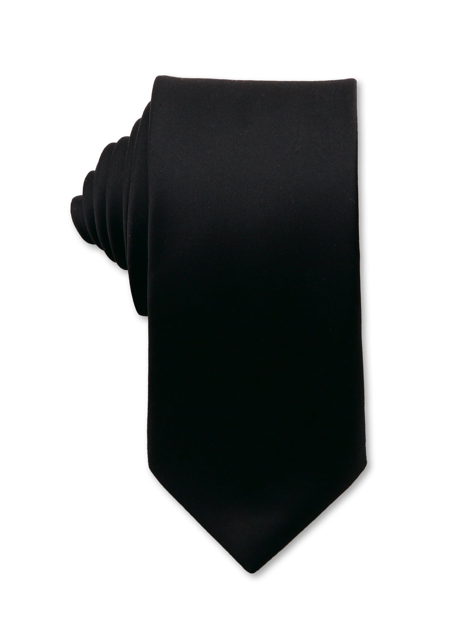 Black Plain 7cm Dwight Luxury Silk Tie Made in Australia