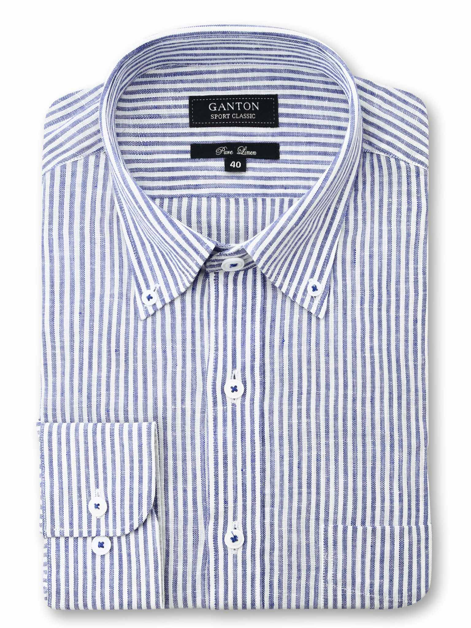 Navy White Stripe Classic Fit Acer Pure Linen Shirt