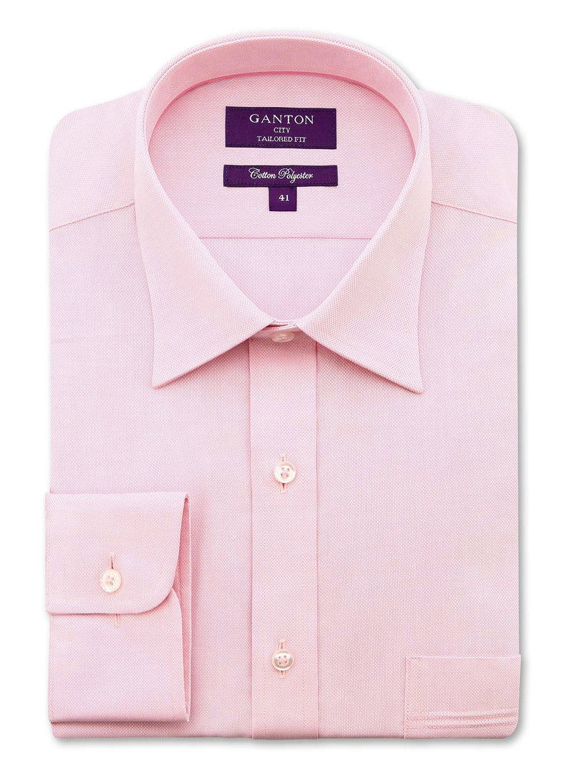 Pink Textured Tailored Fit Andre Cotton Polyester Shirt