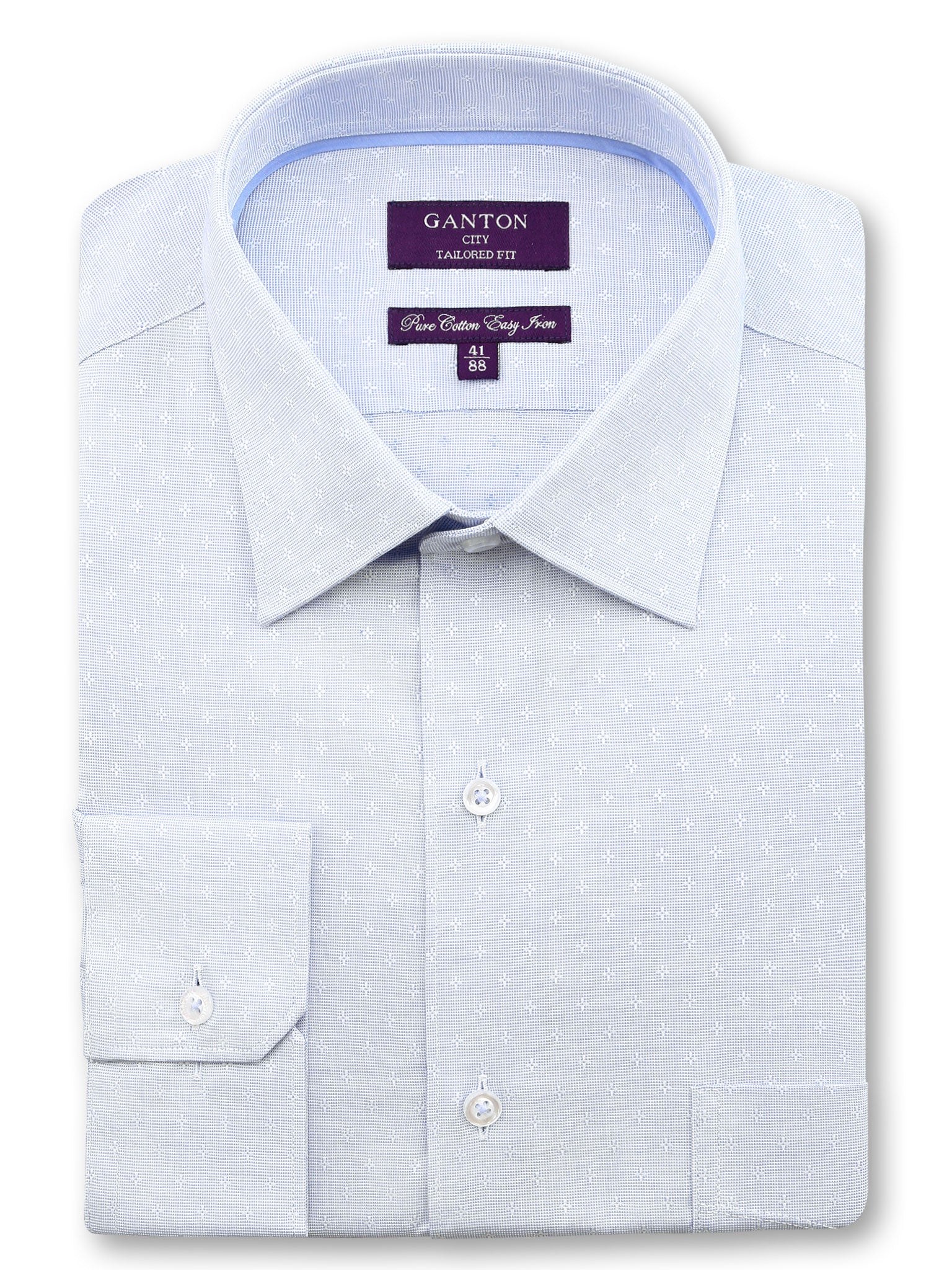 All Light Blue Textured Tailored Fit Lennox Pure Cotton Shirt