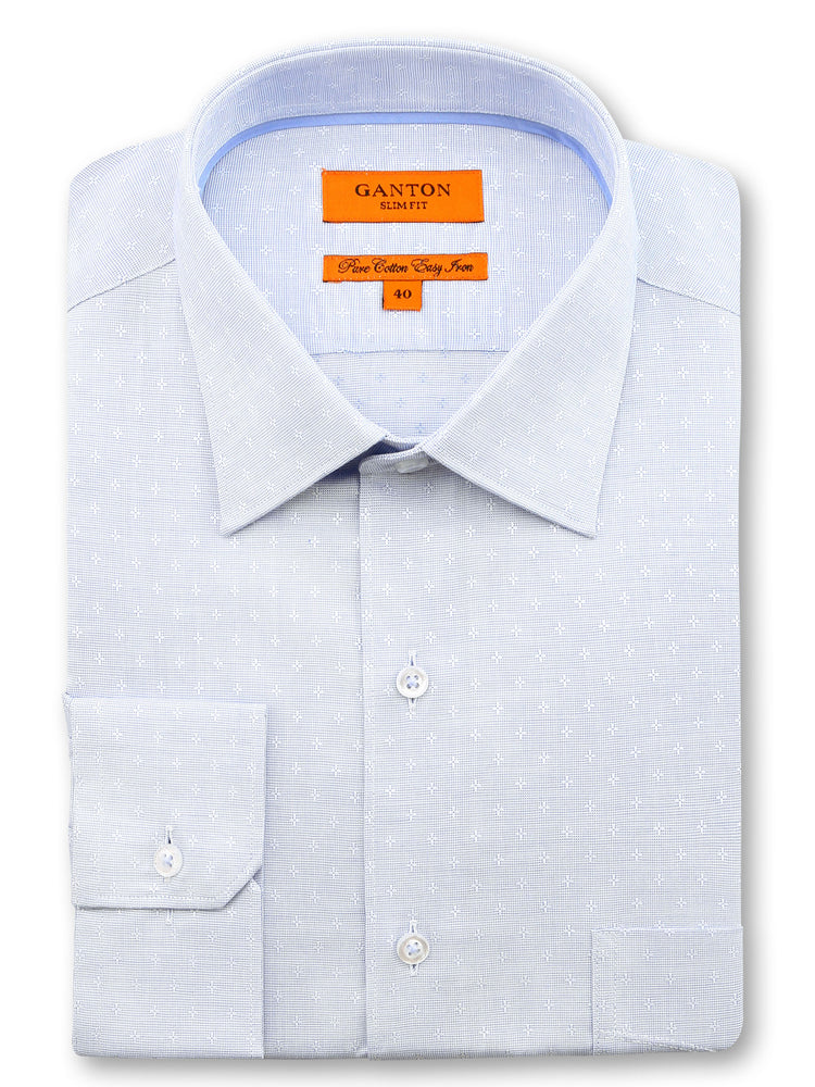 All Light Blue Textured Slim Fit Kendrick Pure Cotton Shirt