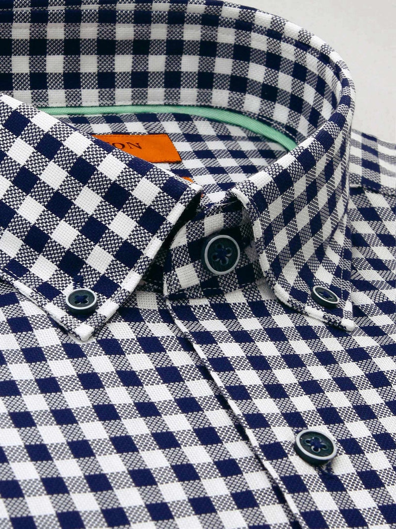 Navy Check Slim Fit Charlton Pure Cotton Shirt