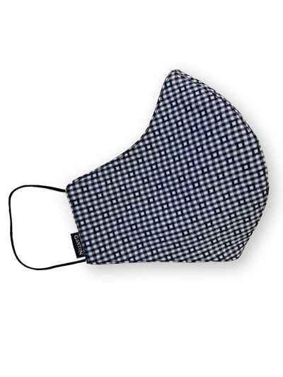 Navy Check Reversible Four Layer Washable Face Mask