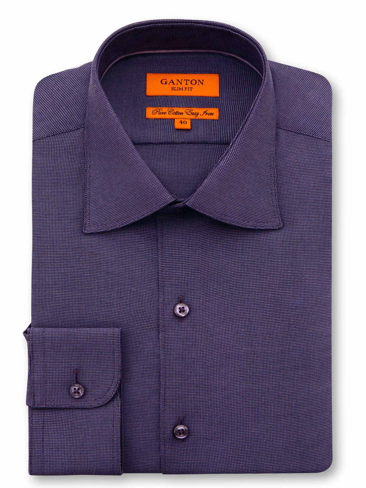 All Purple Textured Slim Fit Ivan Easy Iron Cotton Shirt