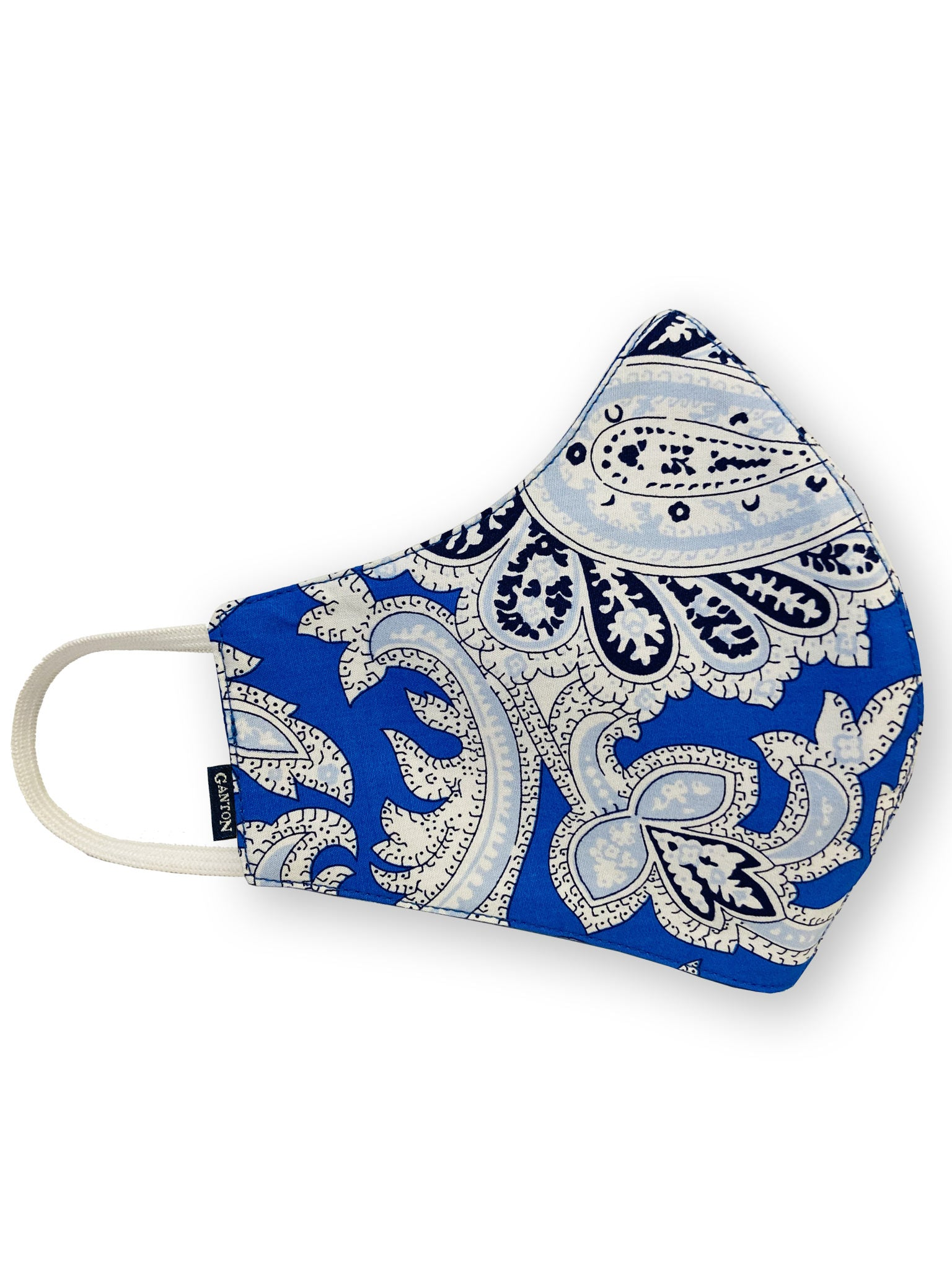 Blue and White Reversible Four Layer Washable Face Mask