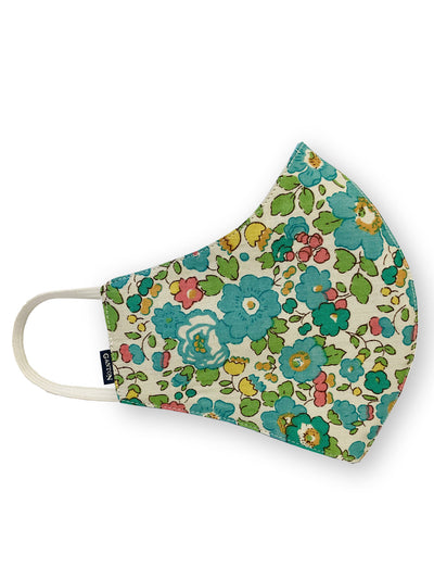 Green Floral Print Reversible Four Layer Washable Face Mask