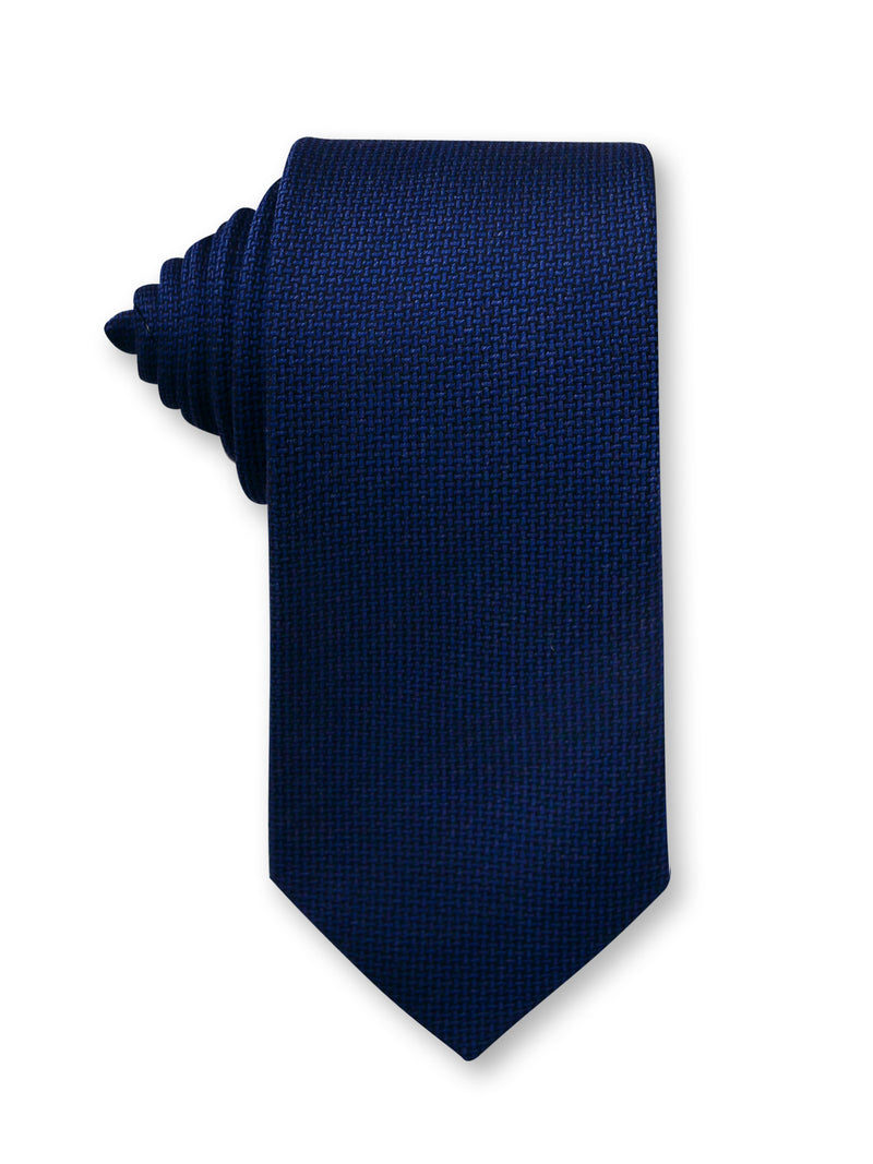 Navy Plain 7cm Ganton Essentials Italian Silk Tie Made in Australia