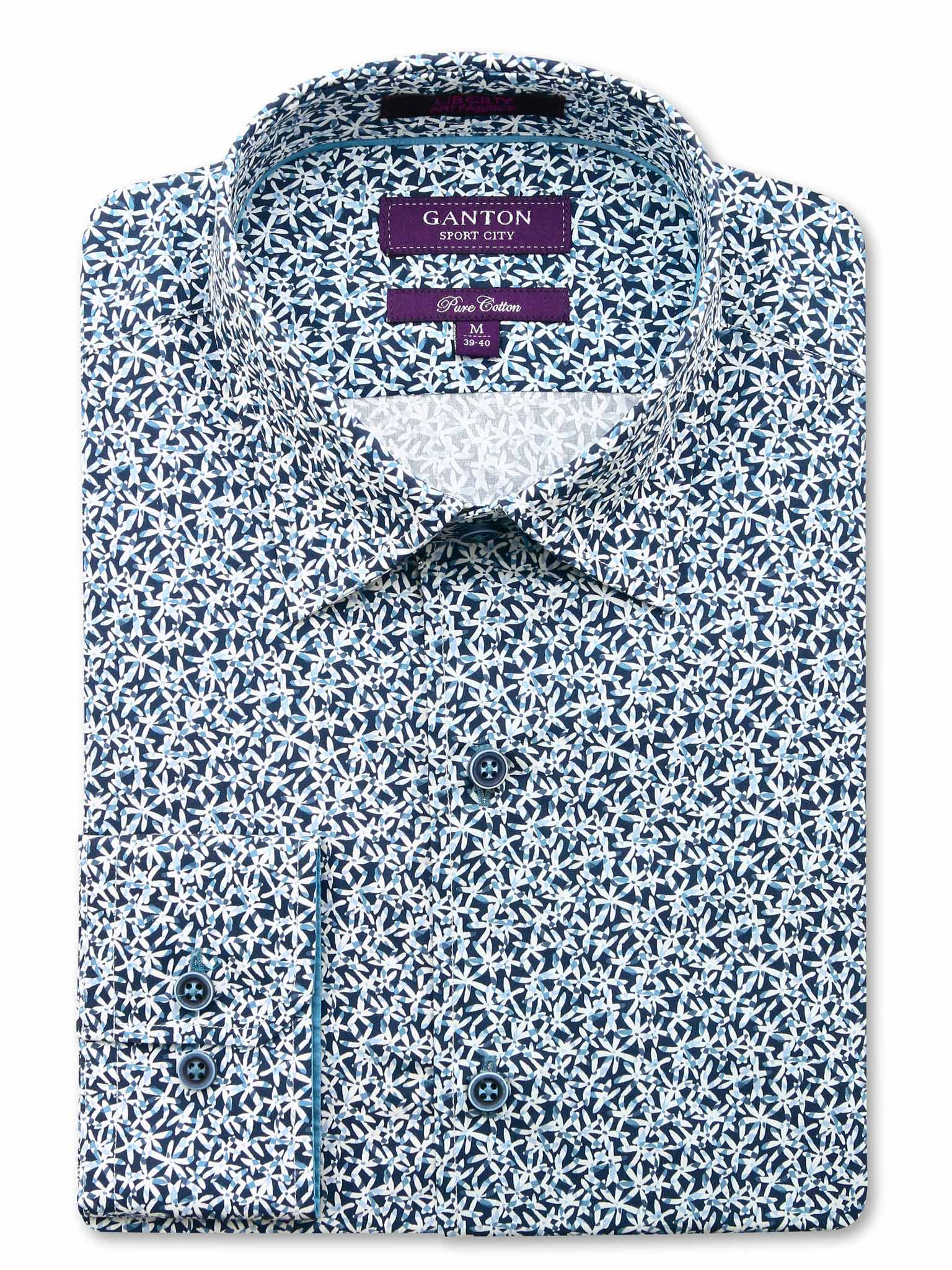 Blue Flower Print Tailored Fit Adam Liberty Cotton Shirt