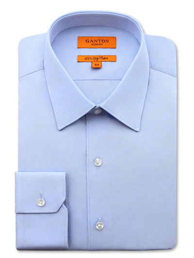 Blue Plain Slim Fit Ethan 2 Ply Cotton Shirt