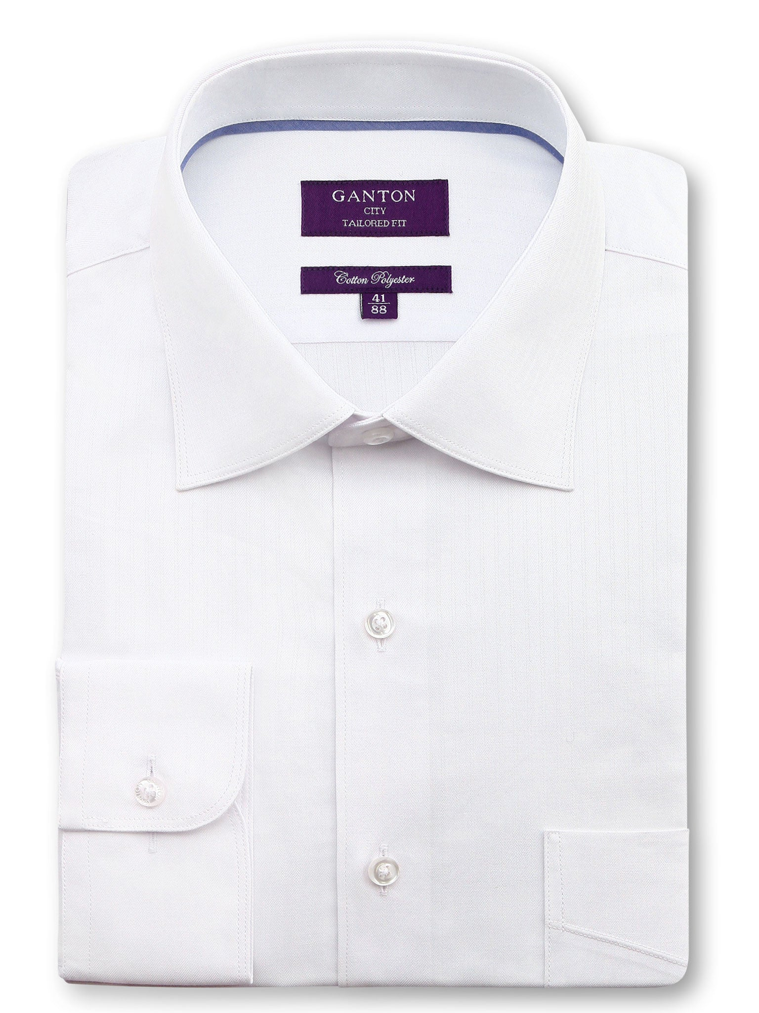 All White Textured Tailored Fit Wayne Cotton Polyester Shirt