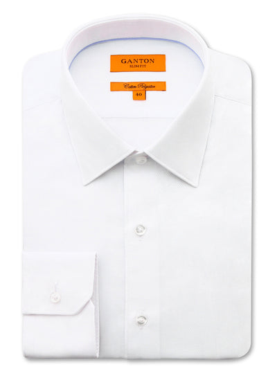 White Textured Slim Fit Lance Cotton Polyester Shirt