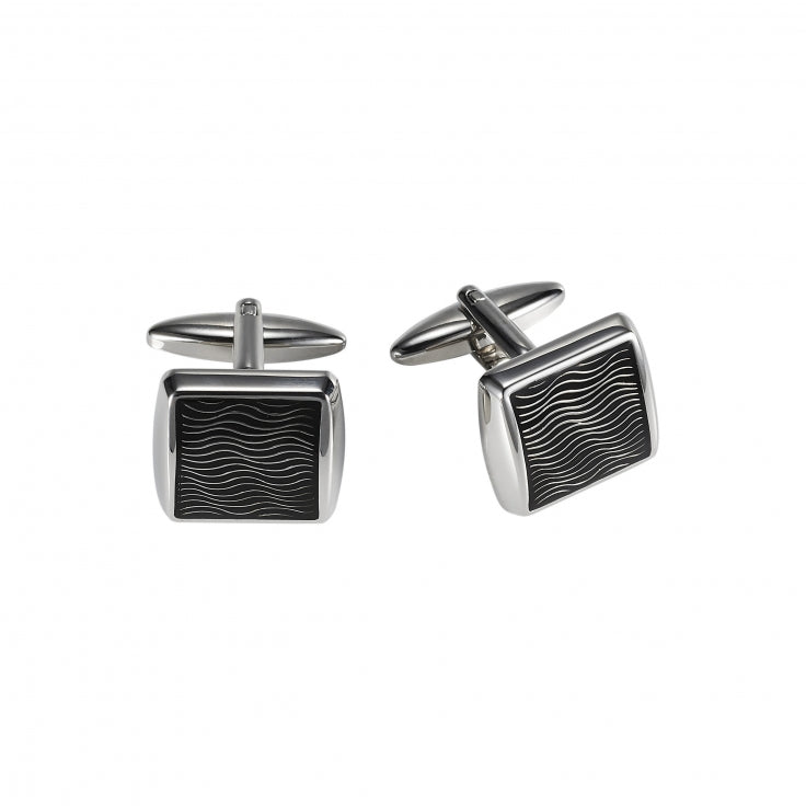 Rhodium/Black epoxy cufflinks
