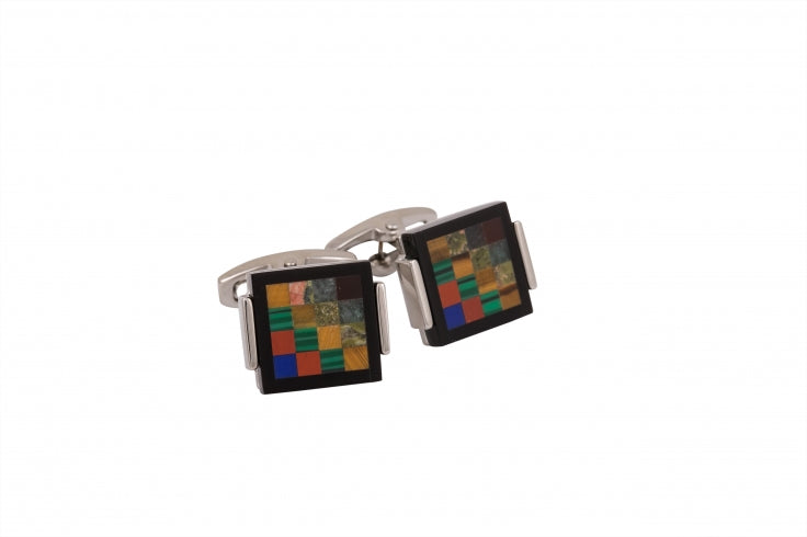 Rhodium Plated Onyx/Tiger eye/unakite/ green aventurine/red agate Cufflinks