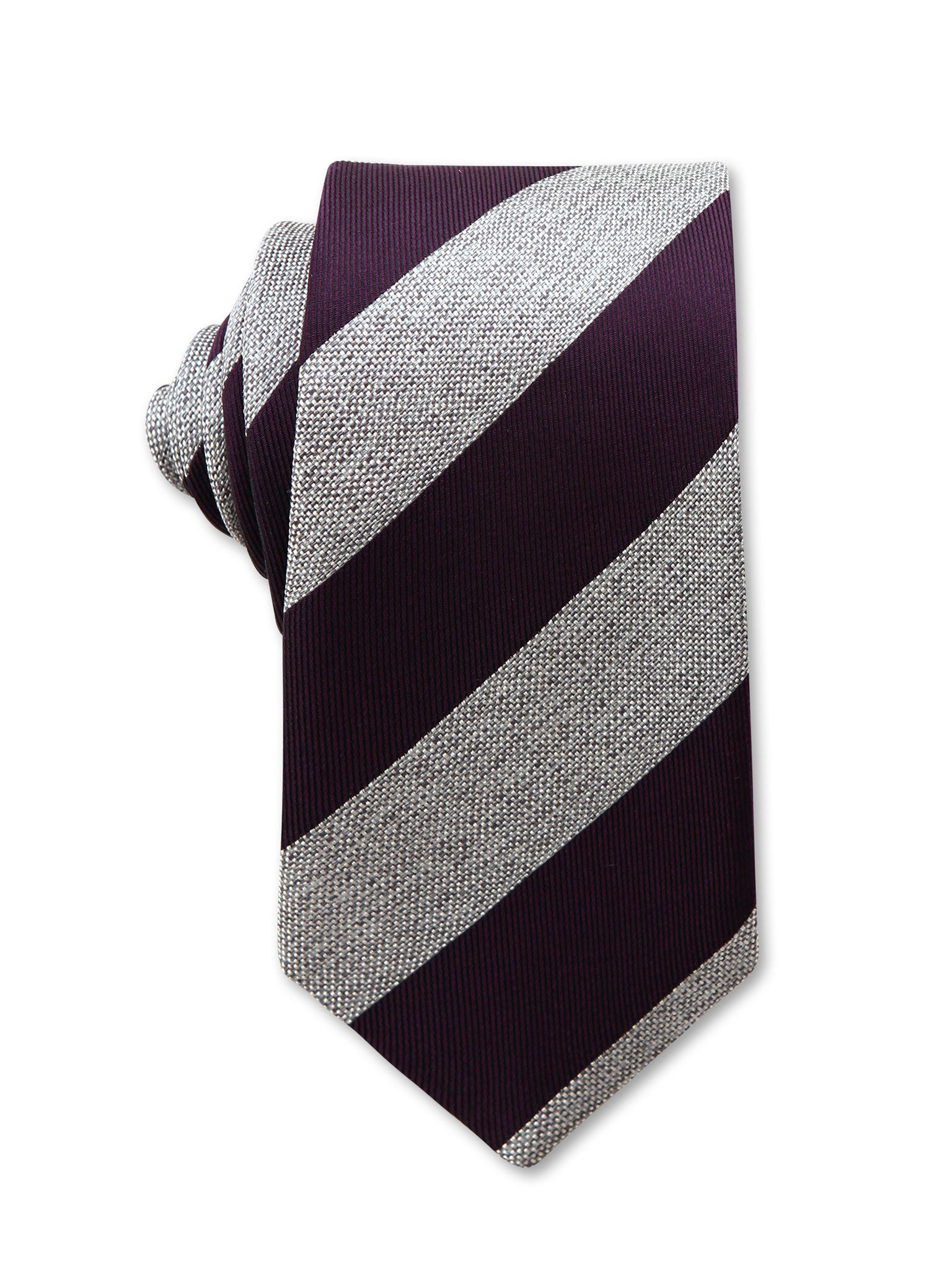 Grey Purple Diagonal Stripe 8cm Italian Silk Tie Made in Australia