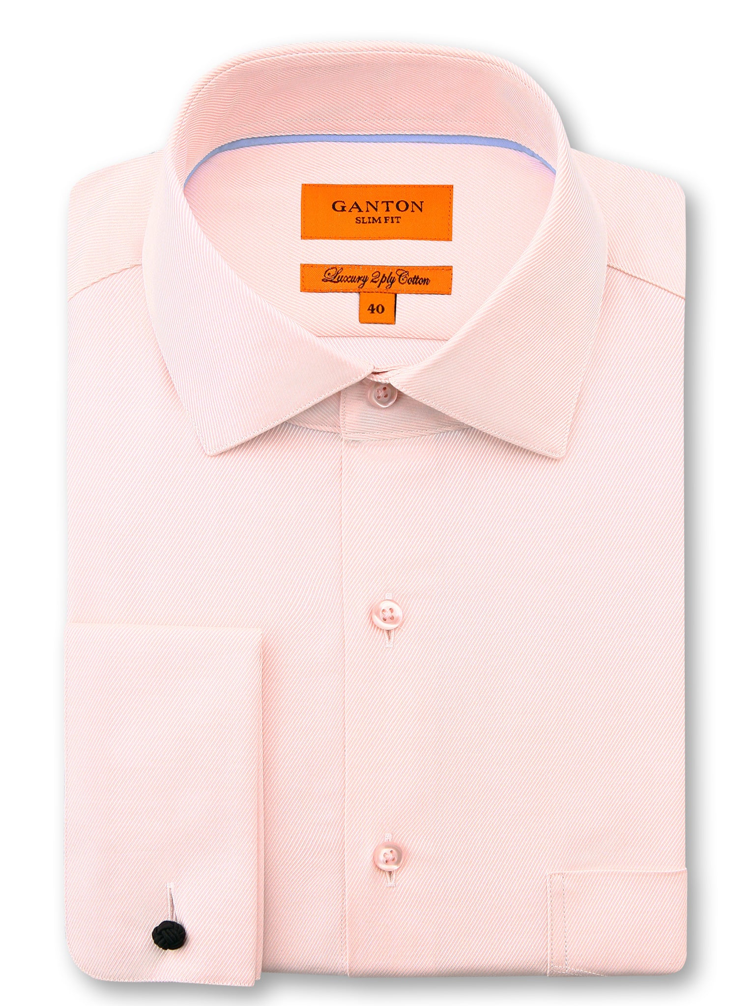 Pink Twill Slim Fit Darren Luxury 2 Ply Cotton Shirt