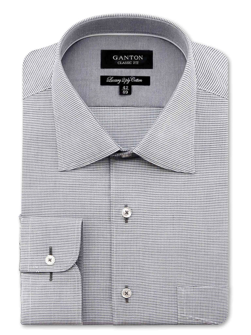Full Grey Textured Classic Fit Blaine Luxury 2 Ply Cotton Shirt