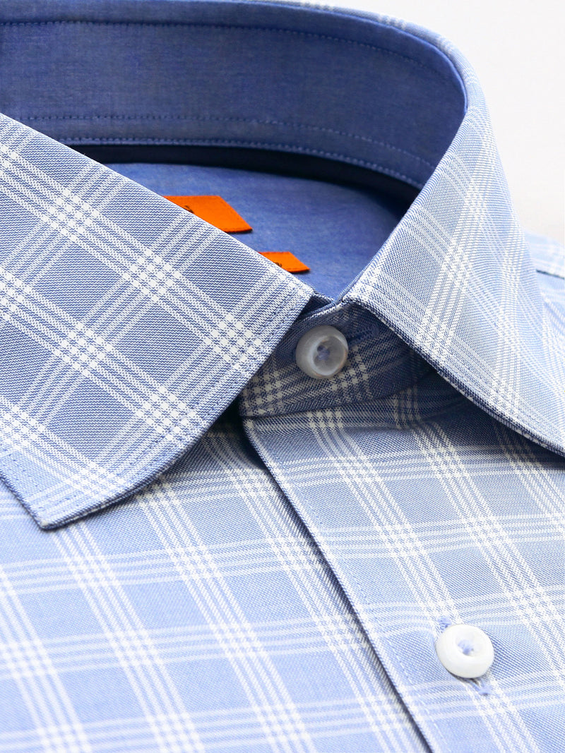 Light Blue White Check Slim Fit Harden Wash Wear Swiss Cotton Shirt
