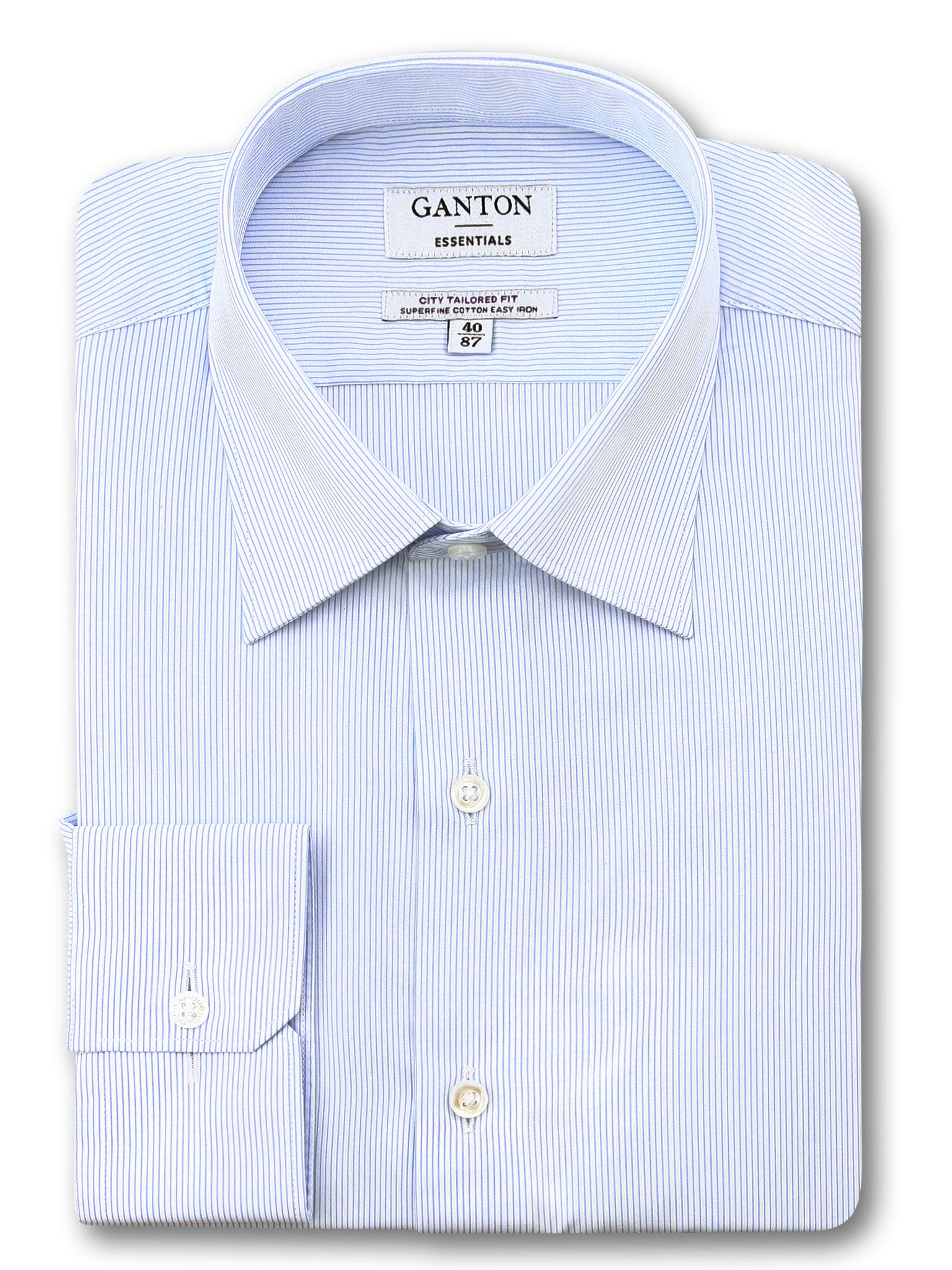 All Light Blue White Stripe Tailored Fit Ed Easy Iron Superfine Cotton Essentials Shirt