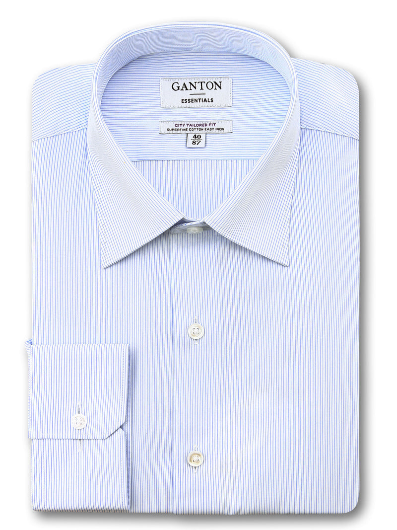 Light Blue White Stripe Tailored Fit Ed Easy Iron Superfine Cotton Essentials Shirt
