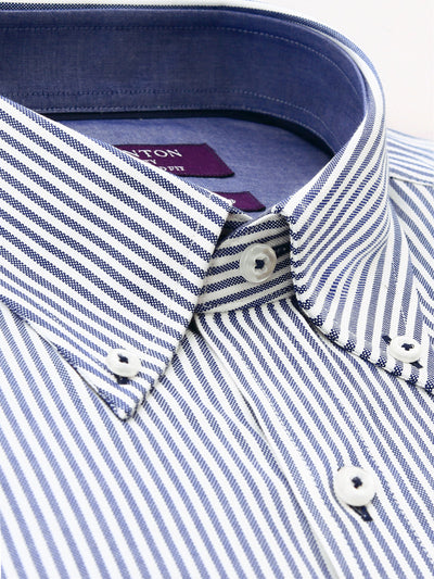 Navy White Stripe Tailored Fit Keith Luxury 2 Ply Cotton Shirt