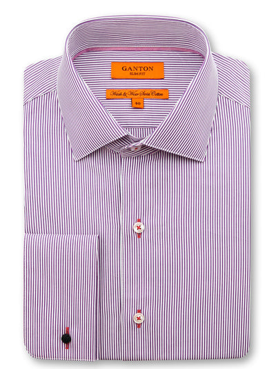 Purple Stripe Slim Fit Durant Easy Iron Cotton Shirt