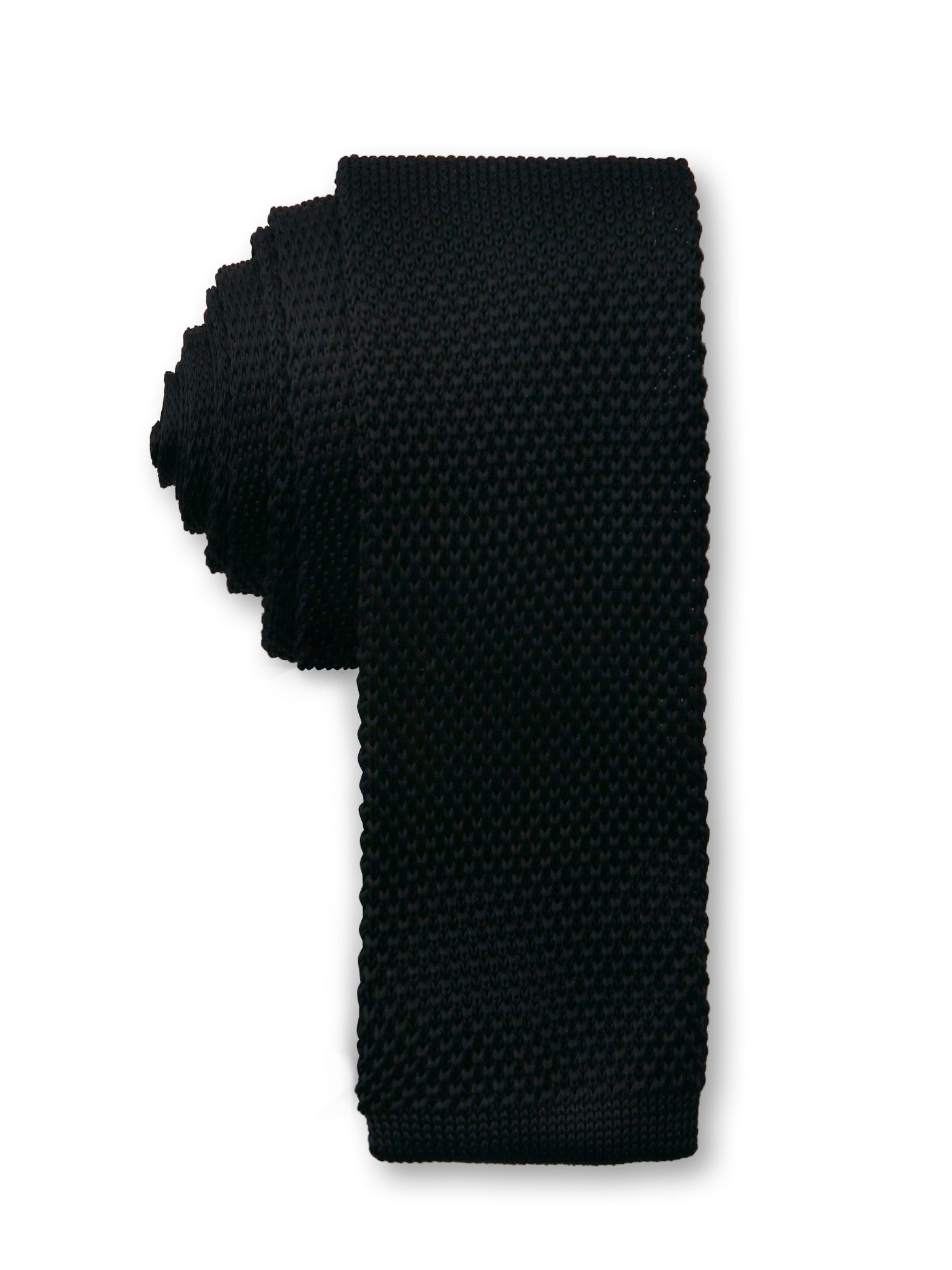 Black Knitted 6cm Ganton Polyester Tie Made in Australia