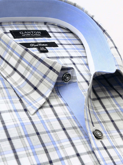 Grey Navy White Check Classic Fit Phil Cotton Shirt