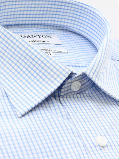 Blue White Check Classic Fit Elon Easy Iron Superfine Cotton Essentials Shirt