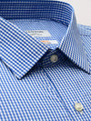 Mid Blue Check Slim Fit Enzo Easy Iron Superfine Cotton Essentials Shirt