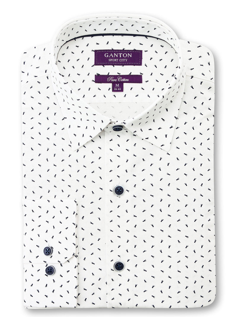 White Navy Feet Print Tailored Fit Gilbert Pure Cotton Shirt