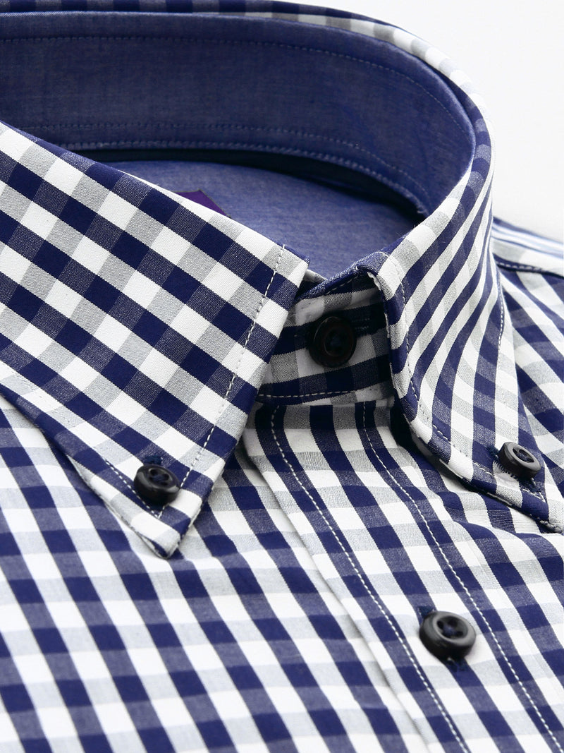 Navy White Check Tailored Fit Toby Easy Iron Cotton Shirt