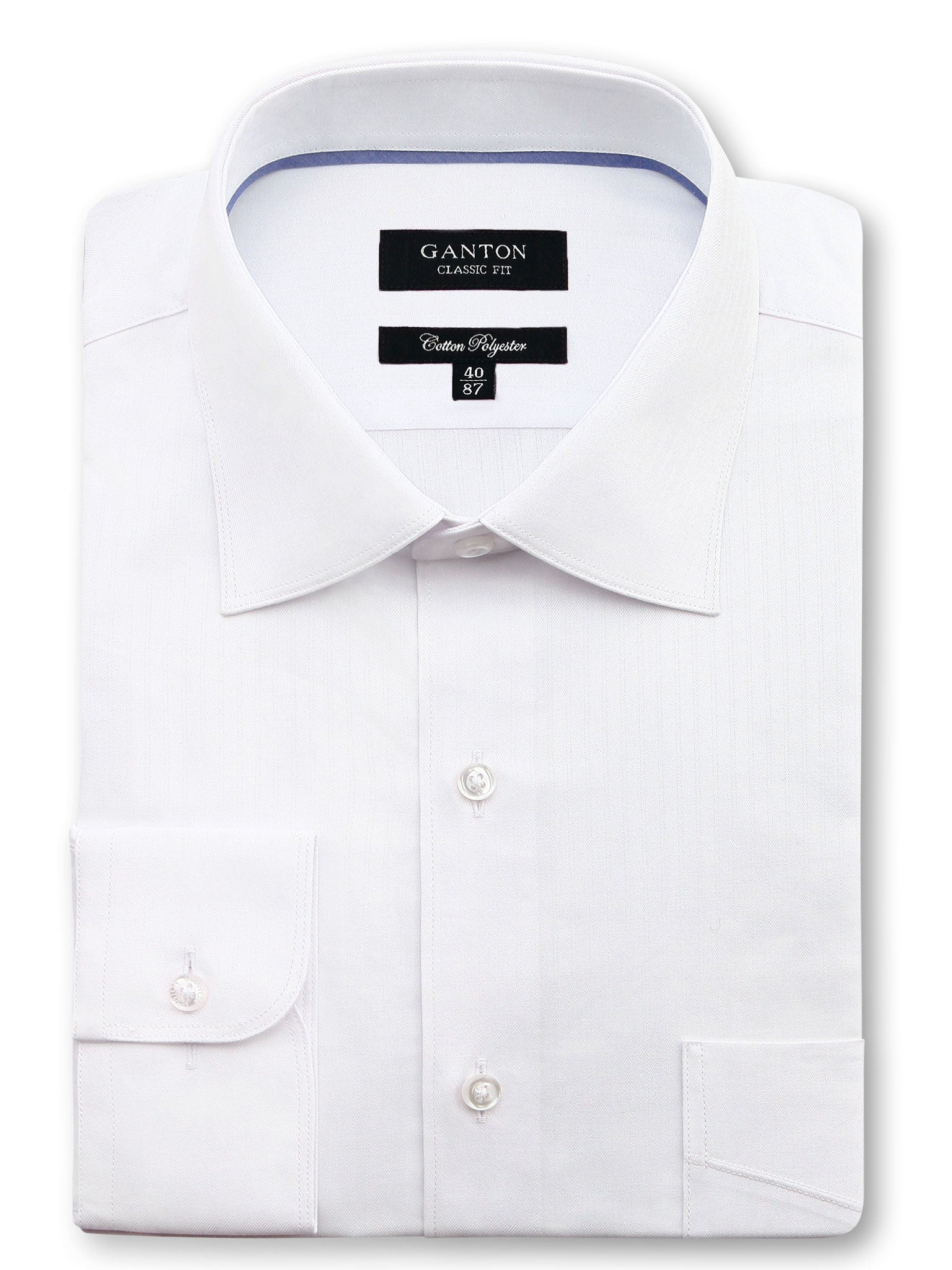All White Textured Classic Fit Mark Cotton Polyester Shirt