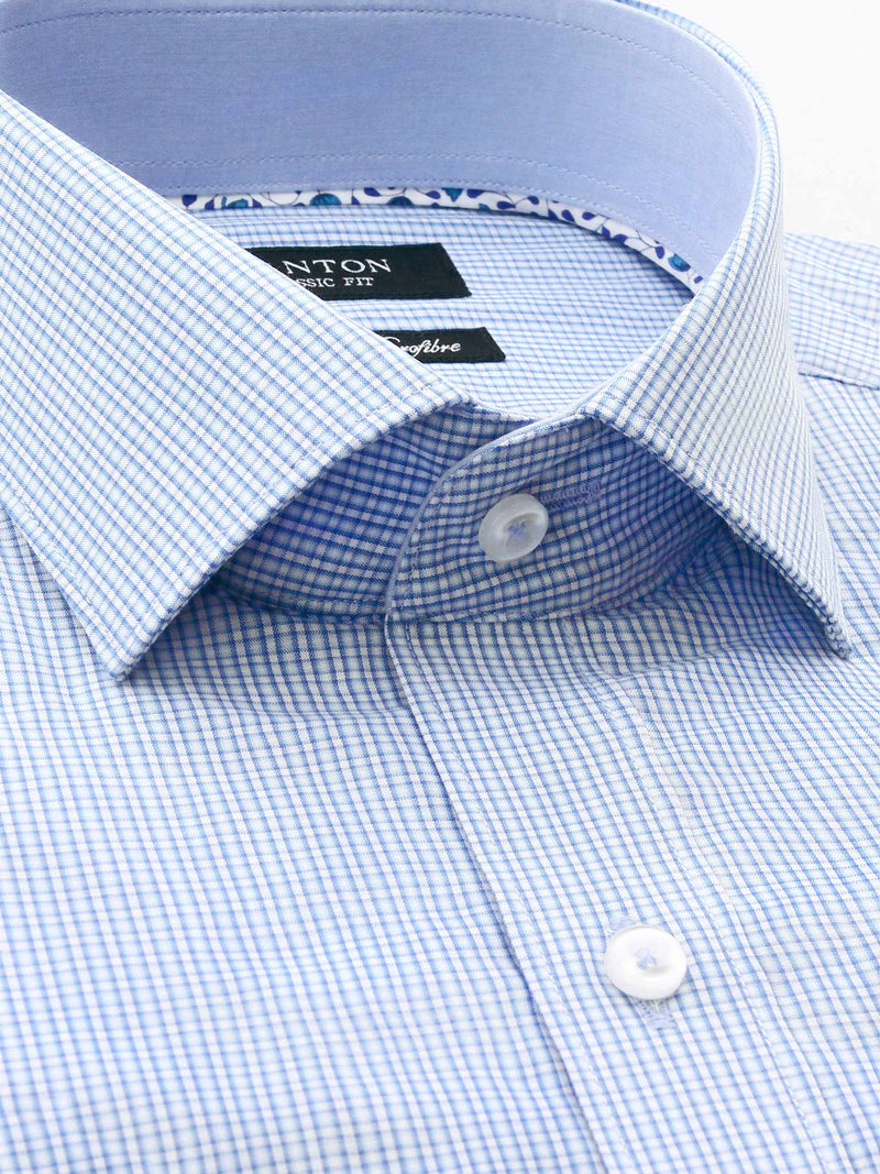 Blue Check Classic Fit David Bamboo Microfibre Shirt