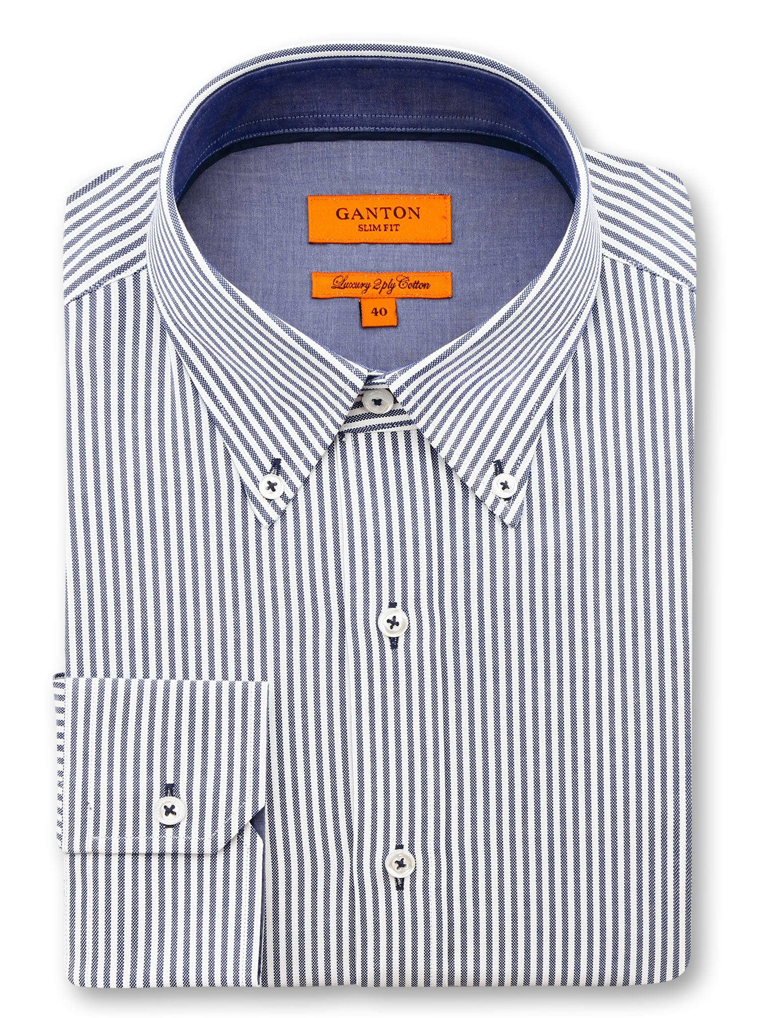 Navy White Stripe Slim Fit Leo Luxury 2 Ply Cotton Shirt