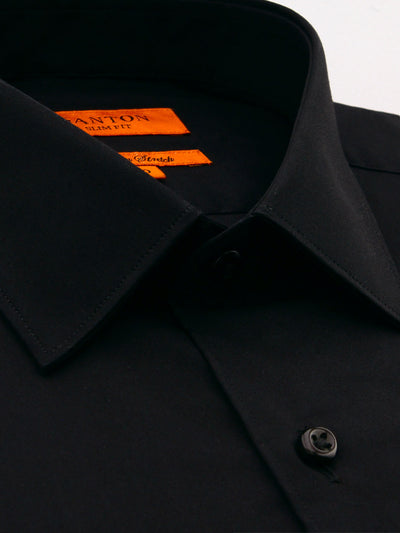 Flat Black Plain Slim Fit Mitch Stretch Cotton Shirt