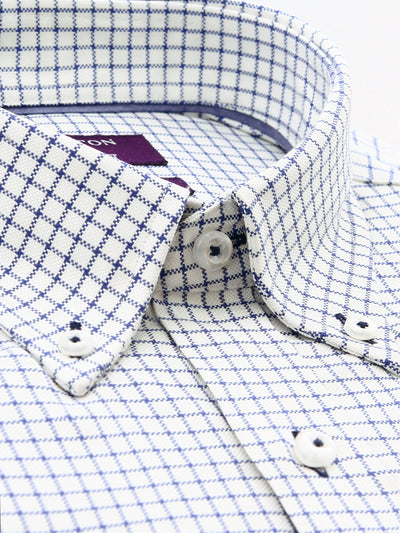 White Navy Check Tailored Corbin 2 Ply Cotton Shirt