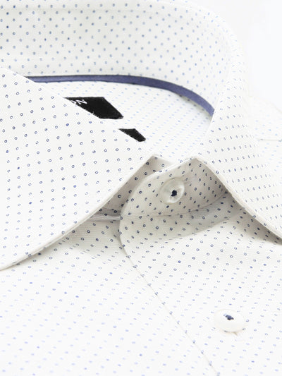 White Navy Print Classic Fit Marcus Cotton Shirt