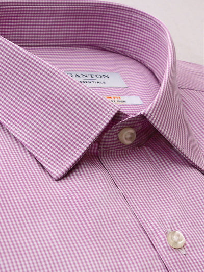 Purple Check Slim Fit Emmett Easy Iron Superfine Cotton Essentials Shirt