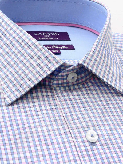 Pink Blue White Check Tailored Fit Shaun Bamboo Microfibre Shirt